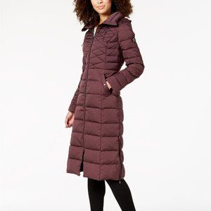 Bernardo Down Maxi Coat - Dark Plum - Size S